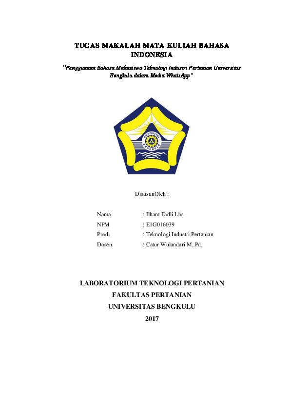 Doc Tugas Makalah Mata Kuliah Bahasa Indonesia Ilham Fadli Lbs Academia Edu