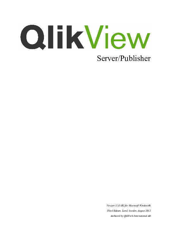 PDF) Qlik View Server Reference Manual ENG | Luis Borrego - Academia edu