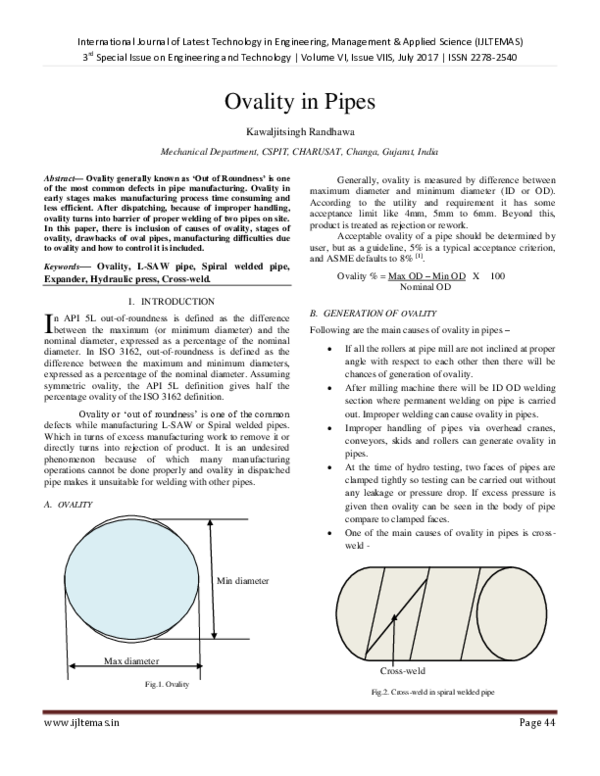 PDF) Ovality in Pipes | International Journal of Latest