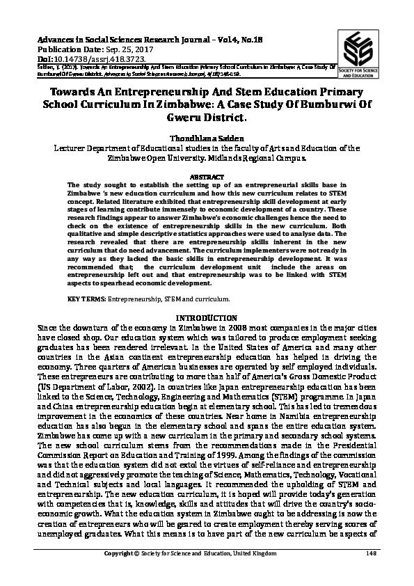 PDF) entreprenuership and STEM curriculum in Zim pdf