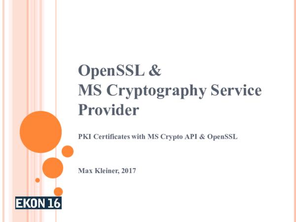 PDF) OpenSSL & MS Cryptography Service Provider PKI | Max