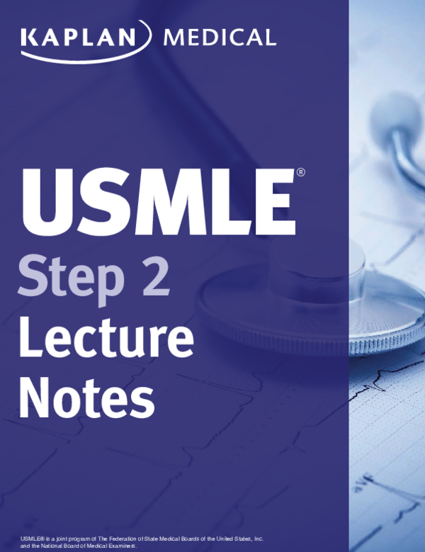 PDF) USMLE ® Step 2 Lecture Notes | som thysour - Academia edu
