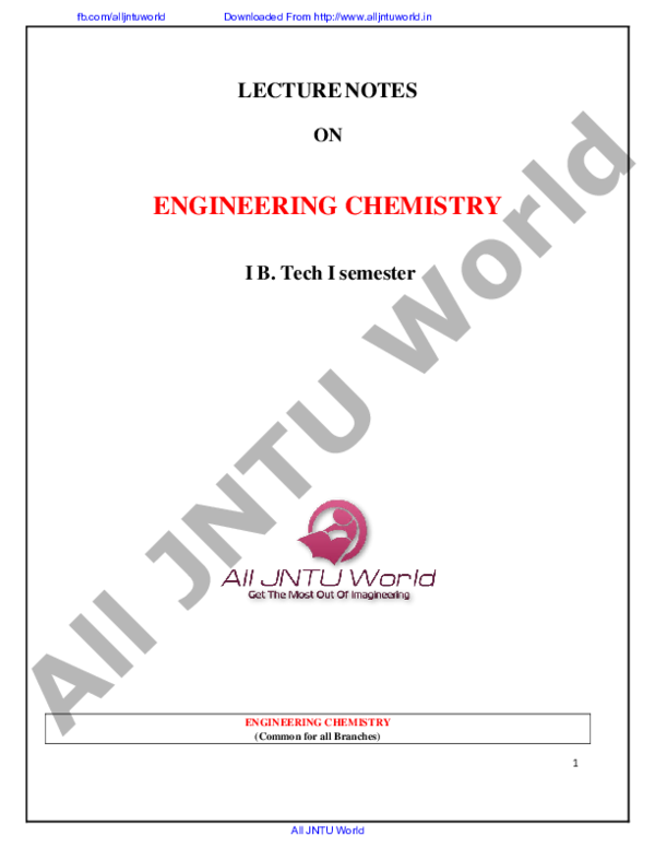 PDF) LECTURE NOTES ON ENGINEERING CHEMISTRY I B  Tech I