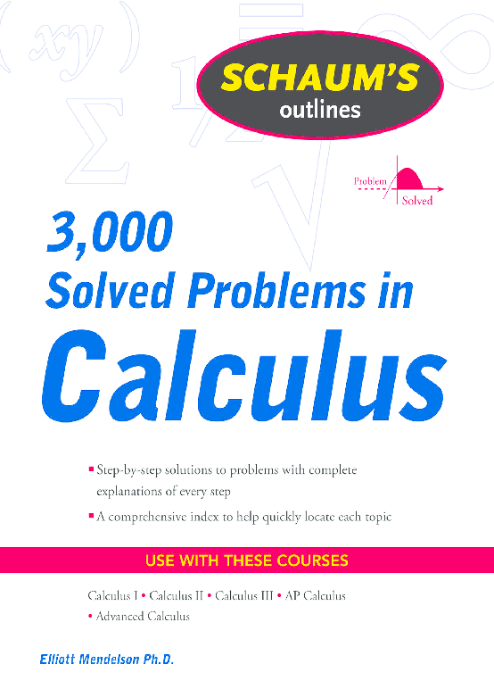 PDF) Schaum's 3,000 Solved Problems in Calculus by Elliott Mendelson