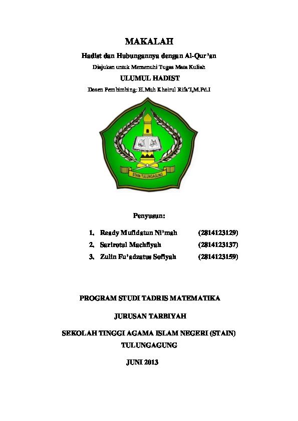 Pdf Makalah Hadist Dan Hubungannya Dengan Al Qur An Ina Aina Siti Solehah Academia Edu