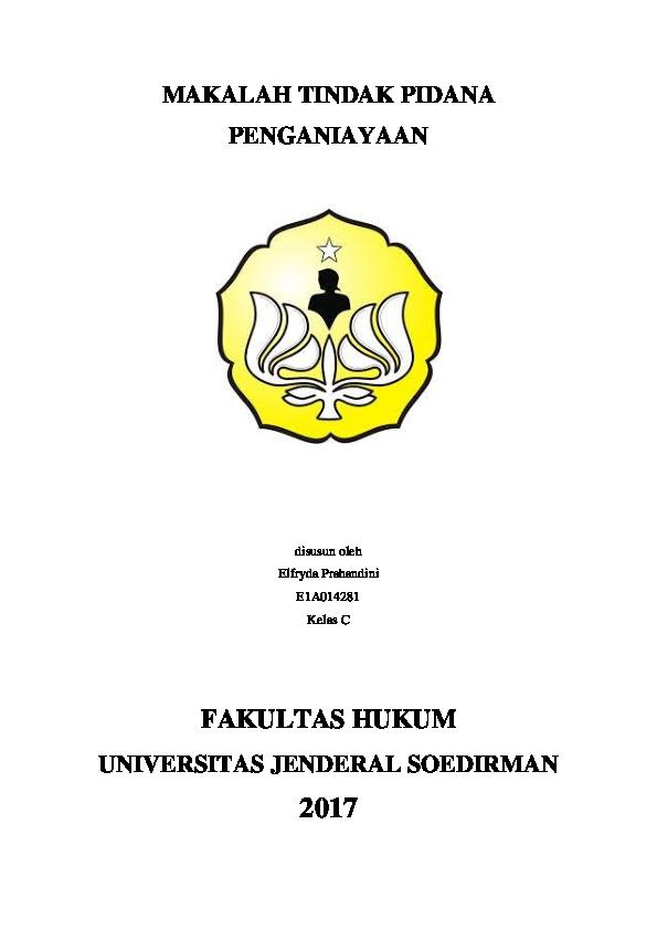 Doc Makalah Tindak Pidana Penganiayaan Elfryda Prahandini Academia Edu