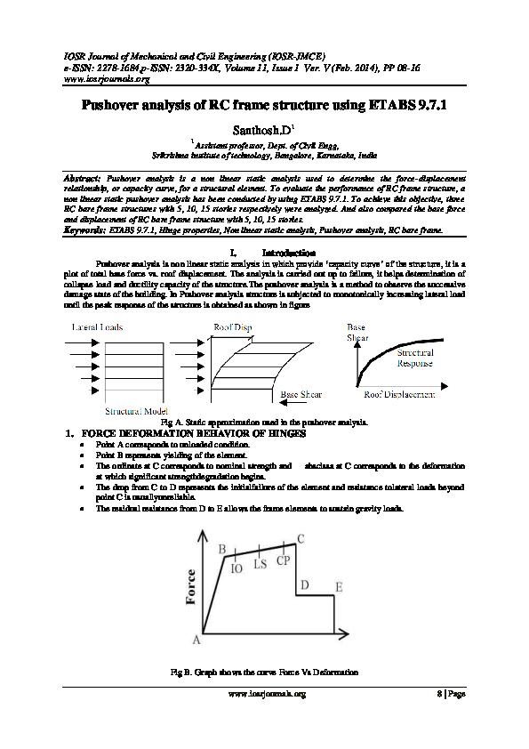 PDF) Pushover analysis of RC frame structure using ETABS 9 7