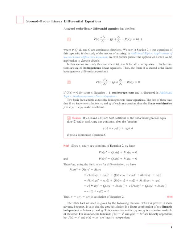 PDF) Second-Order Linear Differential Equations   raja mubashir