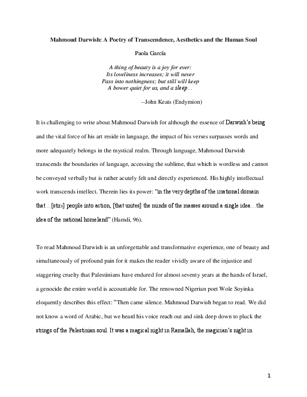 The Poets Art And His Nation Mahmoud Darwish