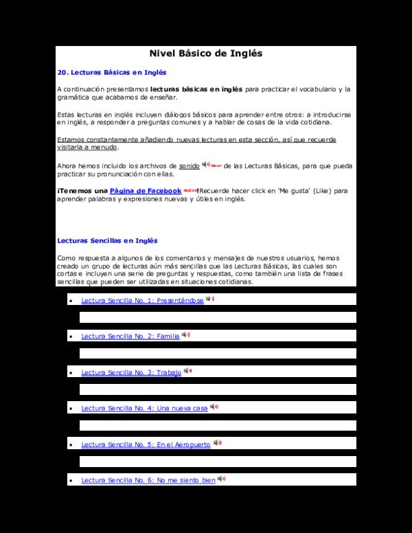Doc Nivel Básico De Inglés Sel Cardona Academiaedu