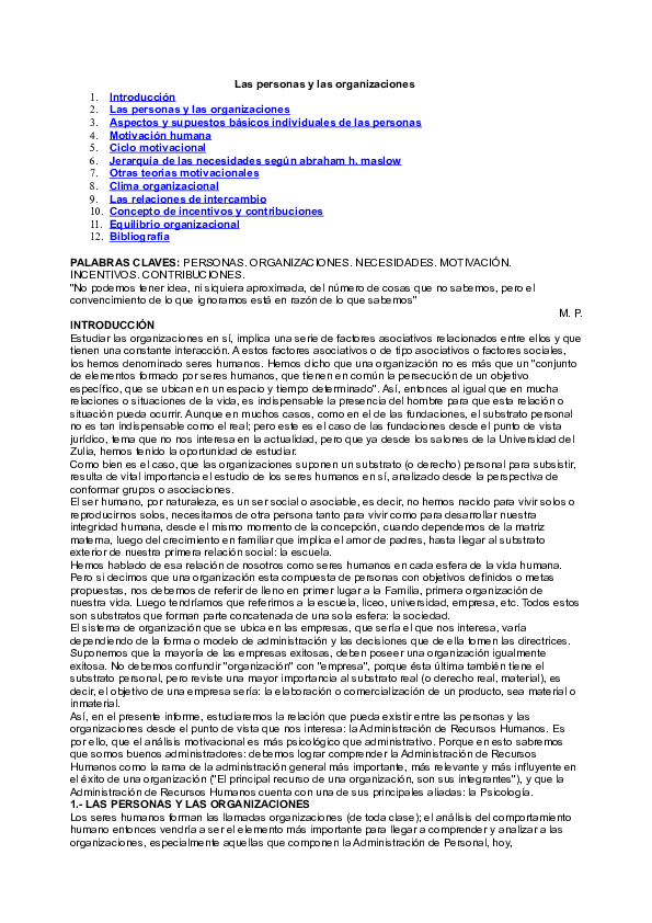 Doc Ls Las Personas Y Las Organizaciones 1 Adilene