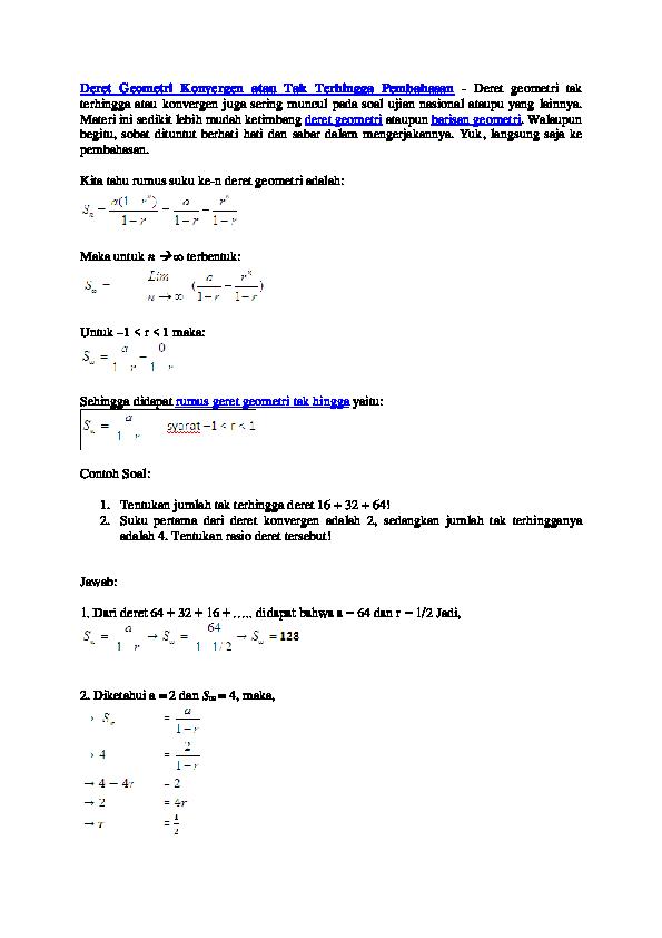 13 Contoh Soal Deret Geometri Tak Hingga Beserta Jawabannya Kumpulan Contoh Soal