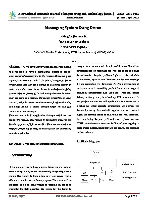 PDF) Messaging System Using Drone | IRJET Journal - Academia edu