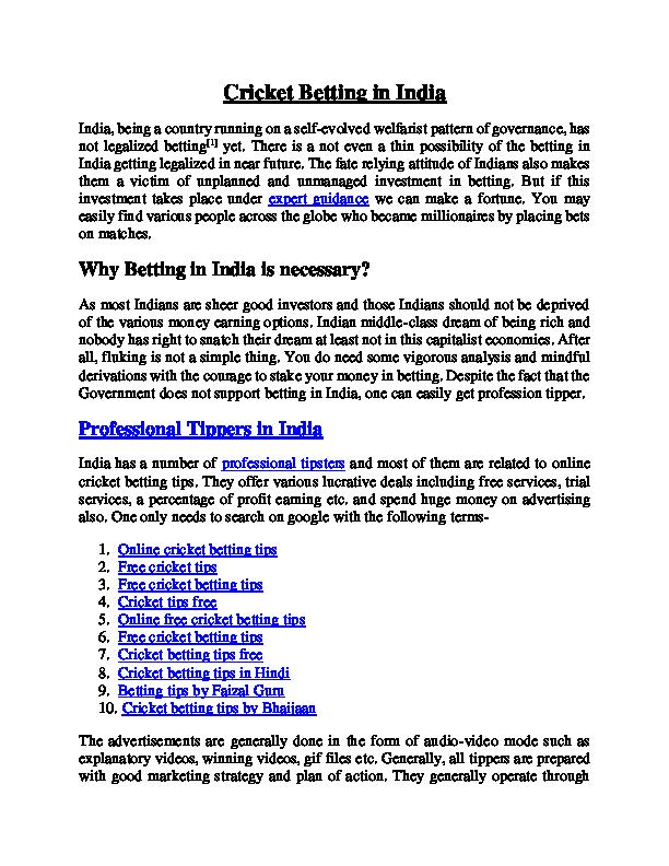 PDF) Cricket Betting in India | Jeetu Routela - Academia edu