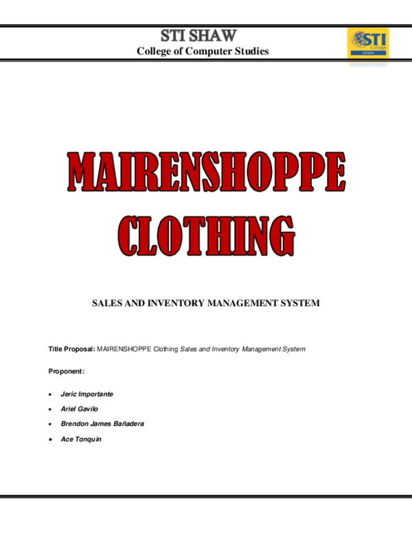 DOC) MAIRENSHOPPE CLOTHING SALES AND INVENTORY MANAGEMENT