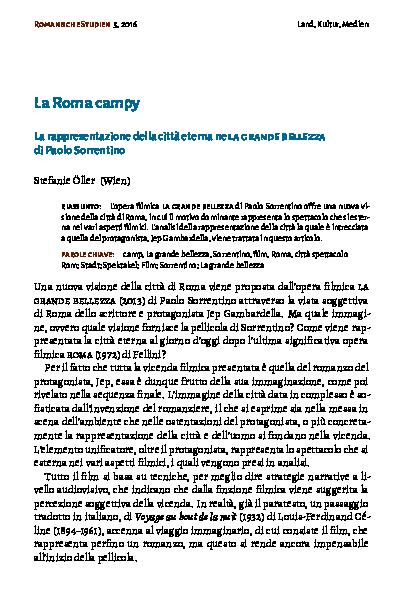 Pdf La Roma Campy La Rappresentazione Della Città Eterna