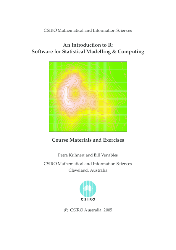 PDF) An Introduction to R: Software for Statistical Modelling