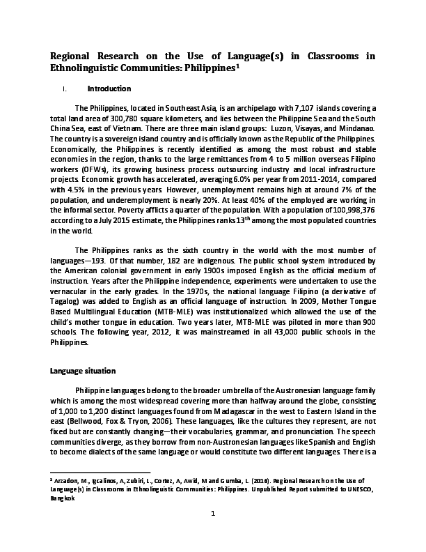 PDF) MTB-MLE in the Philippines | Ched E Arzadon, Tony Igcalinos
