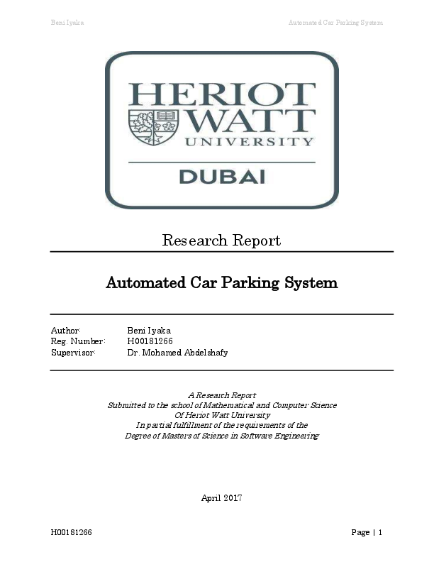 PDF) Automated Car Parking System | Iyaka Beni - Academia edu