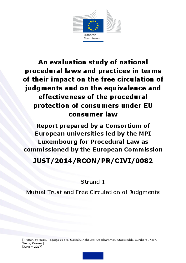 Pdf Eu Evaluation Study On The Impact Of National Procedural Laws