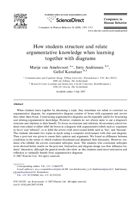 Pdf How Students Structure And Relate Argumentative Knowledge