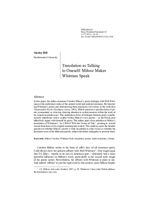 Pdf Translation As Talking To Oneself Miłosz Makes Whitman