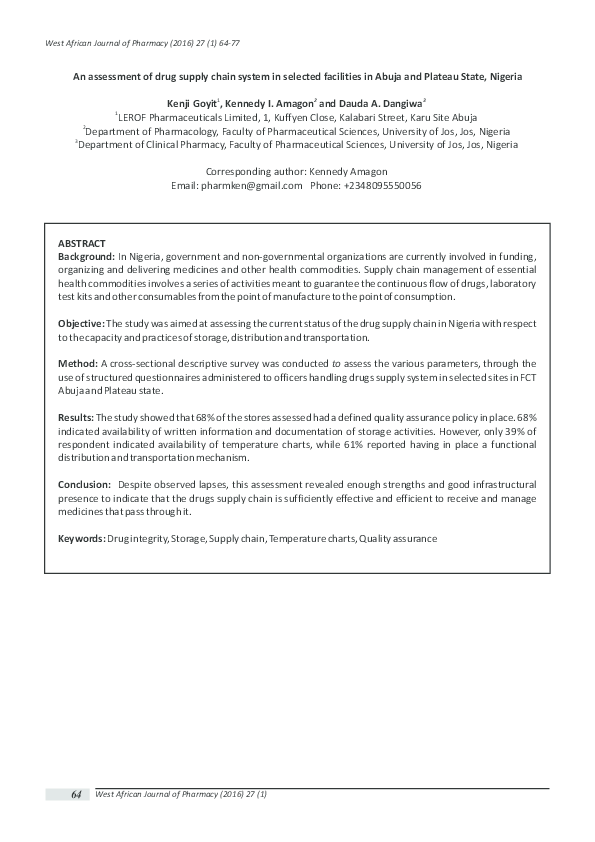 PDF) An assessment of drug supply chain system in selected