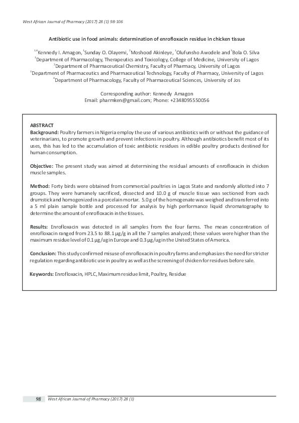 PDF) Antibiotic use in food animals: determination of