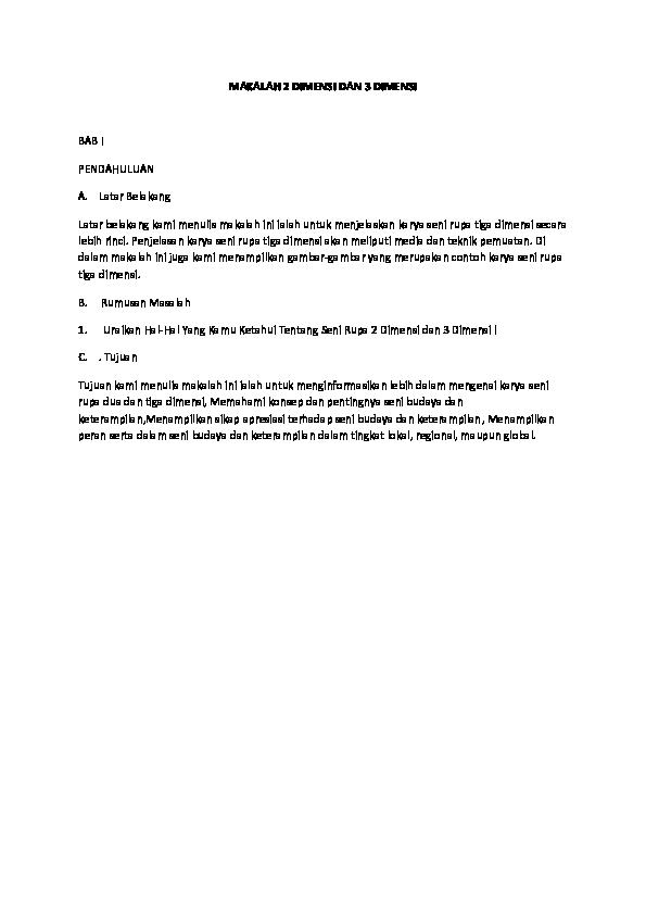 Doc Makalah 2 Dimensi Dan 3 Dimensi Kurnia Sari Academia Edu