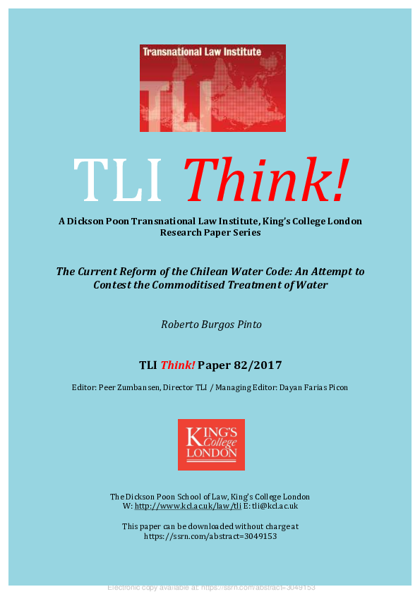 Pdf Tli Think The Current Reform Of The Chilean Water Code
