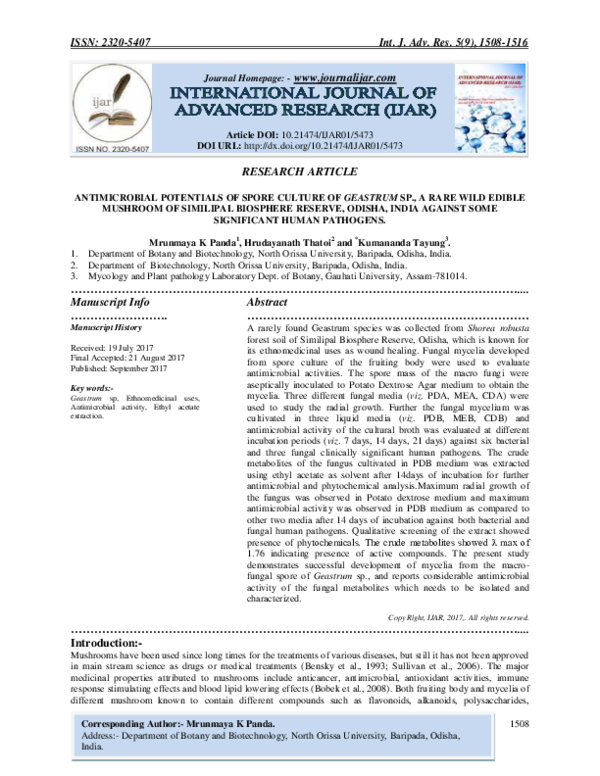 PDF) ANTIMICROBIAL POTENTIALS OF SPORE CULTURE OF GEASTRUM