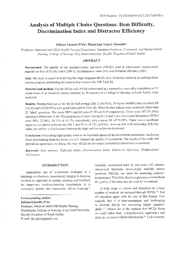 PDF) Analysis of Multiple Choice Questions: Item Difficulty
