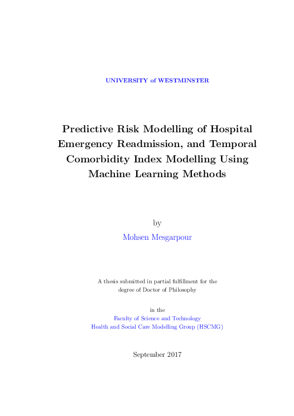 PDF) Predictive Risk Modelling of Hospital Emergency Readmission