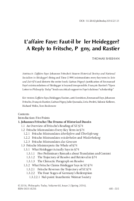 Pdf Heidegger Nazism And L Affaire Faye Response To