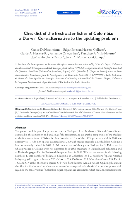 PDF) Checklist of the freshwater fishes of Colombia: a Darwin Core