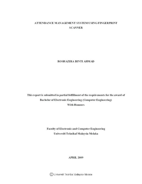 PDF) Attendance Management System Using Fingerprint Scanner