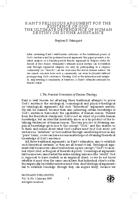 PDF) Kant's Religious Argument for the Existence of God: The