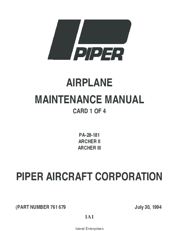 PDF) AIRPLANE MAINTENANCE MANUAL CARD 1 OF 4 PA-28-181