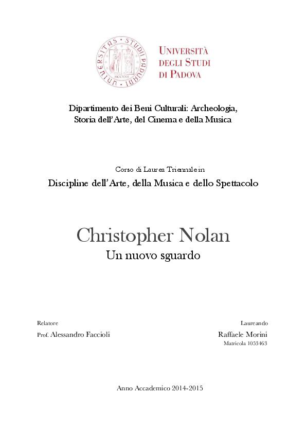Christopher Nolan Un Nuovo Sguardo Raffaele Morini Academiaedu