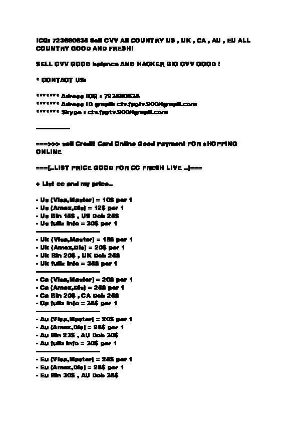 HOT SELLER  ICQ: 723690635 SELLING CVV - CC - FULLZ - TRACKS-DUMPS