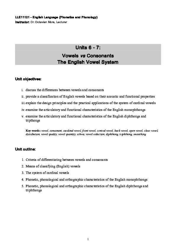 PDF) Units 6 -7: Vowels vs Consonants The English Vowel
