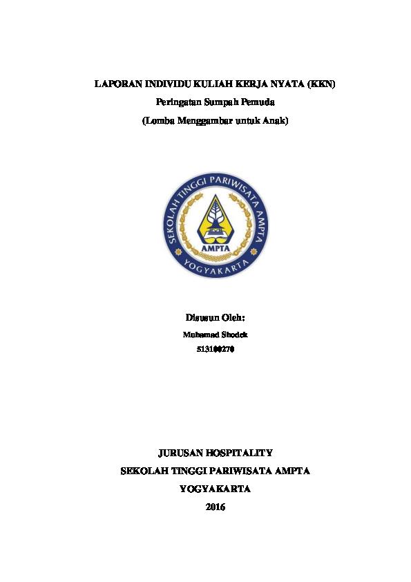 Doc Laporan Individu Kuliah Kerja Nyata Kkn M Shodek Academia Edu