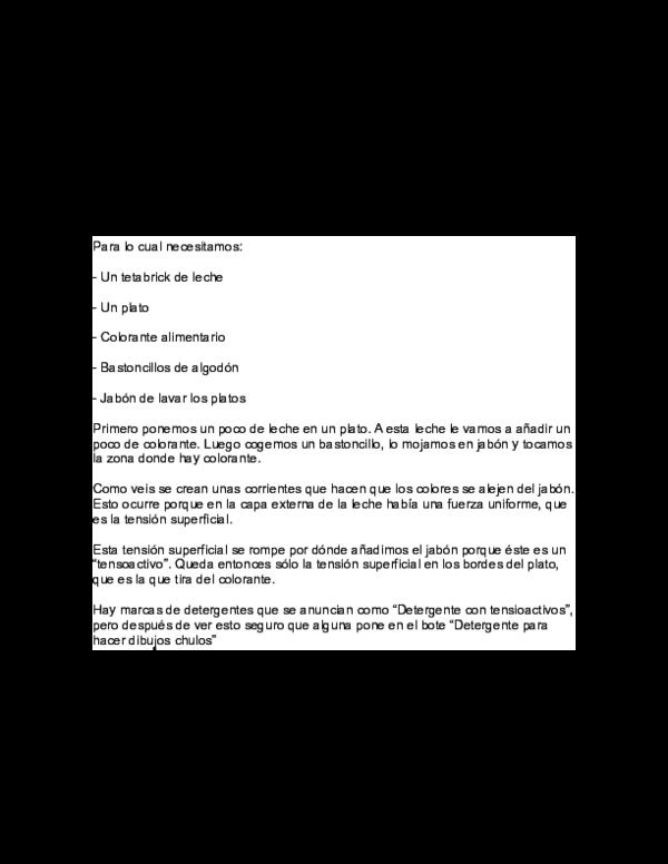 Doc Rompiendo La Tensión Superficial Con Leche Agua Y Jabón Edgar Herminio Sanchez Aguilar Academia Edu