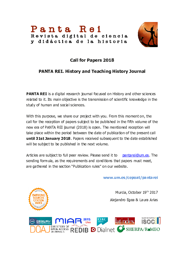 Call for Papers 2018 PANTA REI  History and Teaching History