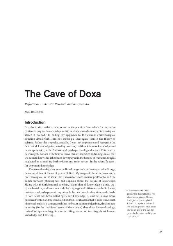 PDF) The cave of doxa   mats rosengren - Academia edu