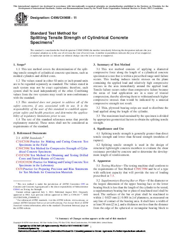 PDF) Standard Test Method for Splitting Tensile Strength of
