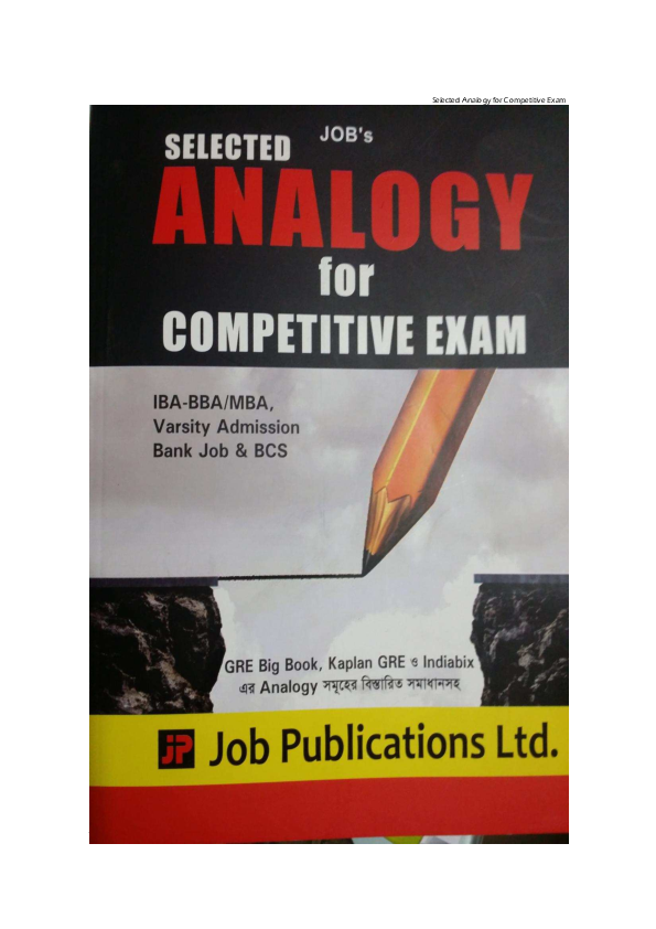 PDF) REAL TEST ANALOGY SOLUTION 20 09  | jahidur be first