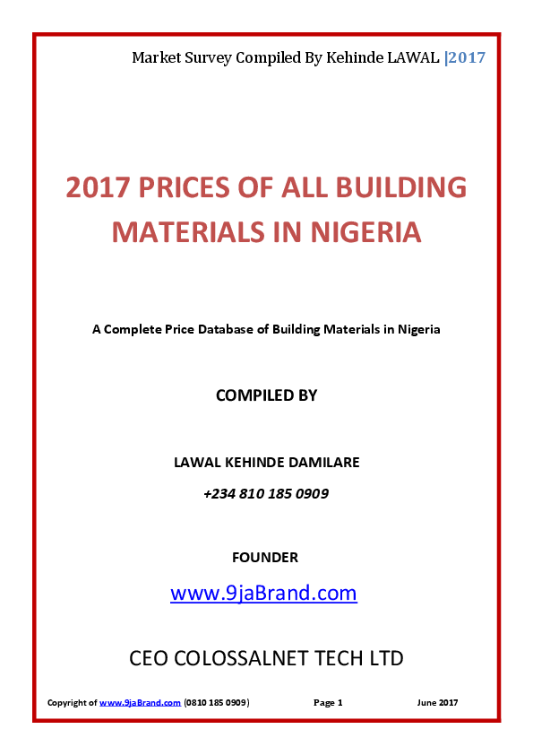 PDF) 2017 PRICES OF ALL BUILDING MATERIALS IN NIGERIA A Complete