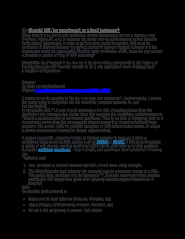 DOC) Argument for the centralization of SSL / TLS management
