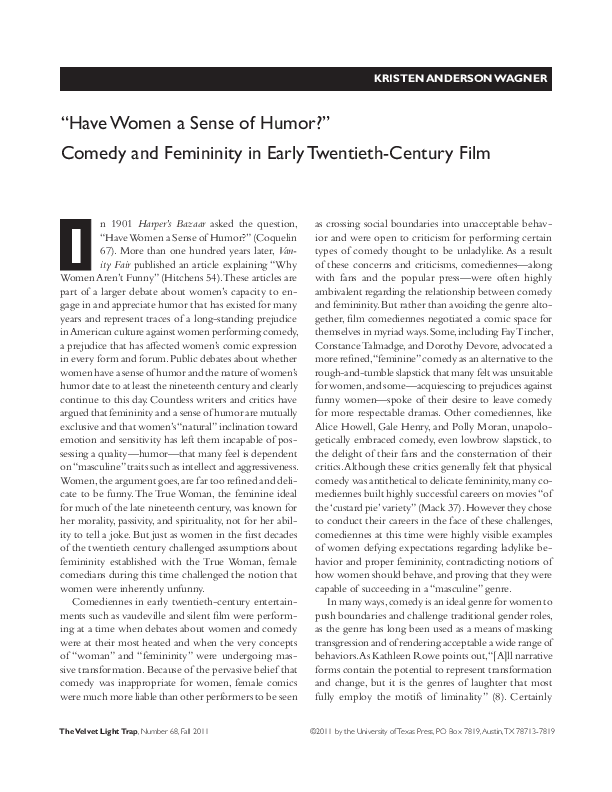 "PDF) ""Have Women a Sense of Humor?"": Comedy and Femininity"